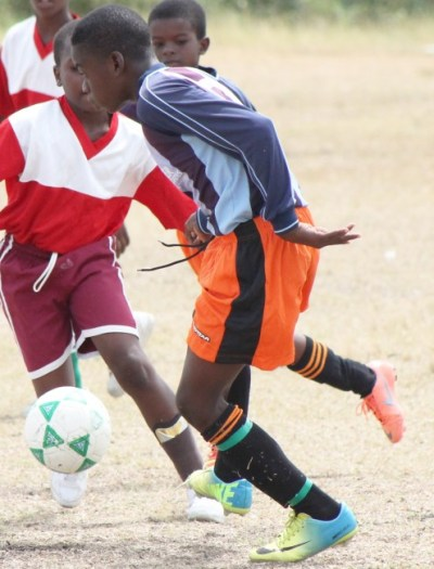 The impressive Zhurri Morris scored two goals for Westbury Primary against Trinity Academy. (FP)