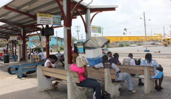 Stranded passengers in the  Princess Alice Bus Terminal today.