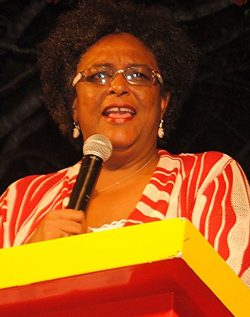 BLP Leader Mia Mottley addressing the rally last night.