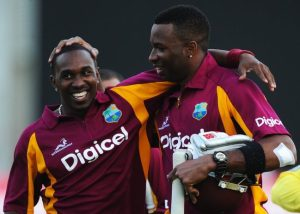 Dwayne Bravo (left) and Kieron Pollard