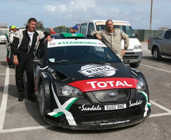 Jeffrey Panton (left) and Mike Fennell Jr. are the 2015 Sol Rally Barbados kings.