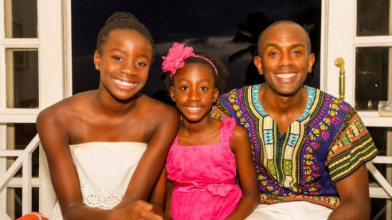 Dr Phil Gaskin with his daughters, Zhara (left) and Isis (centre).