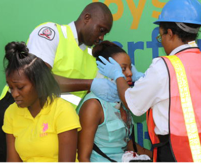 Paramedics attended to  one of the injured  maxi-taxi passengers.