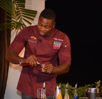 Top Mixologist, Philip 'Casanova' Antoine brewing 'Bay Leaf Passion'.