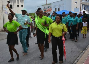 Parish Ambassadors and attendants making a jubilant entrance on  to the Speightstown Esplanade.