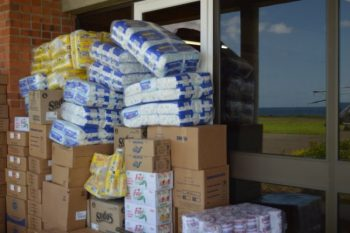 Relief supplies at Canefield Airport.