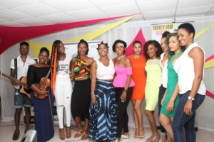 Founder of Honey Jam Barbados (sixth from left), Ebonnie Rowe, posing with some of the artistes who have taken part  in the programme over the years.