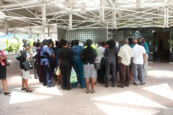 Employees of the Central Bank of Barbados.