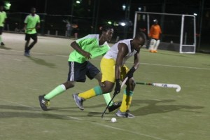 Jair Walker-Cox tried to stop Tremaine Bryan of the Barbados Defence Force from making progress with the ball but was unsuccessful.