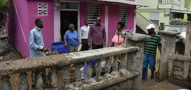 Prime Minister Roosevelt Skerrit visited the Bath Estate community.