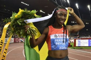 Shelly-Ann Fraser-Pryce celebrates her victory today.
