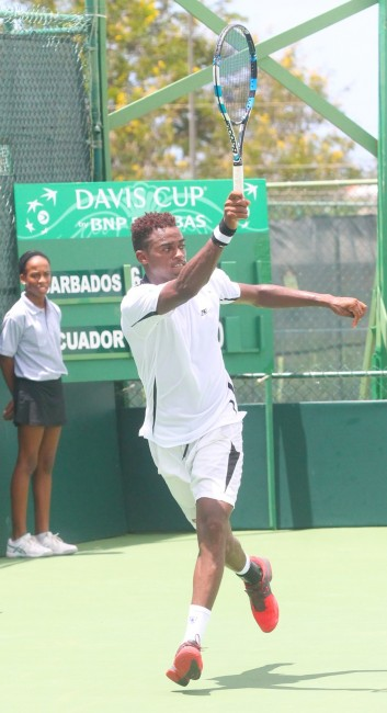Barbados' Darian King looked in good form winning his singles match against Ivan Endara of Ecuador. (Pictures by Morissa Lindsay)