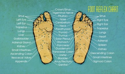 Foot chart depicting different areas on the body that reflexology targets.