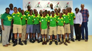 St Catherine's Junior cricket team, with Jason Holder (rear, centre), St Catherine's president Mac Fingall (right, rear), Anton Lovell of Co-operators General Insurance (left, rear) and Chery Forde (second right, rear).
