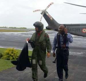 Brian Lara (right) arriving on the island today.