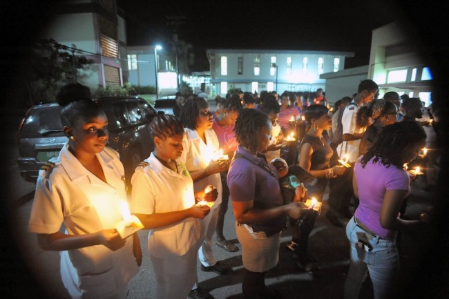 The nursing students at the Barbados Community College came out in their numbers to remember their former classmate.