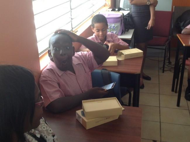 Tashaun Hinds was overjoyed after receiving his new Samsumg Galaxy Tab 4.