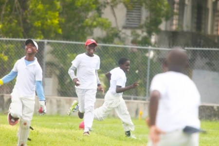 St Stephen's did not perform with the bat as they would have liked but their bowlers Rashad Worrell who took three wickets and Kemani Blackman (third left) were elated with their bowling spells against Wesley Hall today.