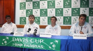 Uruguay team during this morning press conference.