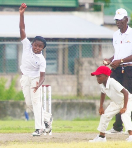 Wesley Hall captain Joshua Morris took  four wickets and scored 27 runs against  St Stephen's Primary. Kevion Newton is the fielder. (Pictures by Morissa Lindsay).