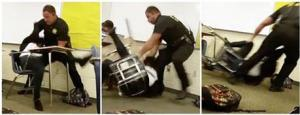 This three-image combo made from video taken by a Spring Valley High School student on Monday shows Senior Deputy Ben Fields trying to forcibly remove a student from her chair after she refused to leave her high school maths class, in Columbia, South Carolina.