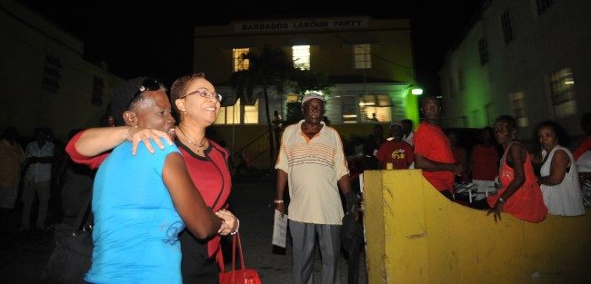 Dr Agard hugs one of her staunch supporters.