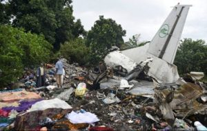 Responders picking through the wreckage of a cargo plane that crashed today in Juba, South Sudan.