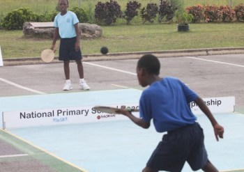 Richen Atherley of Reynold Weekes Primary (backing) was one of the stand-outs for his school.