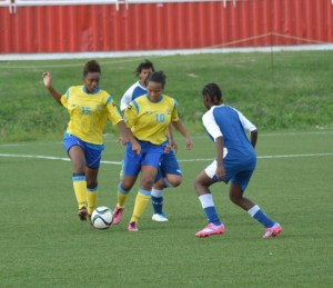 Some of the members of the Barbados squad in a practice session this week.