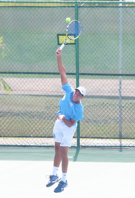 Adam Hornby served big during his semifinal game against Matthew Hutchinson. (Pictures by Morissa Lindsay)