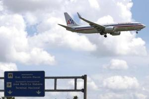 An American Airlines plane preparing to land at the Jose Marti International Airport in Havana September 19.