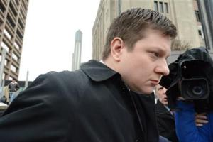 Chicago Police Officer Jason Van Dyke leaving the Criminal Courts Building today in Chicago.