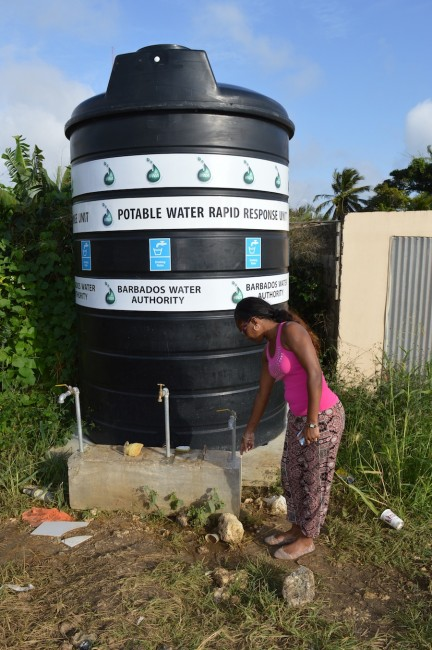 Renee Springer-Maynard pointing to the settling  water by a tank in Airy  Hill St Joseph.