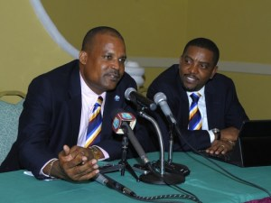 Emmanuel Nanthan (left) with WICB president Dave Cameron.