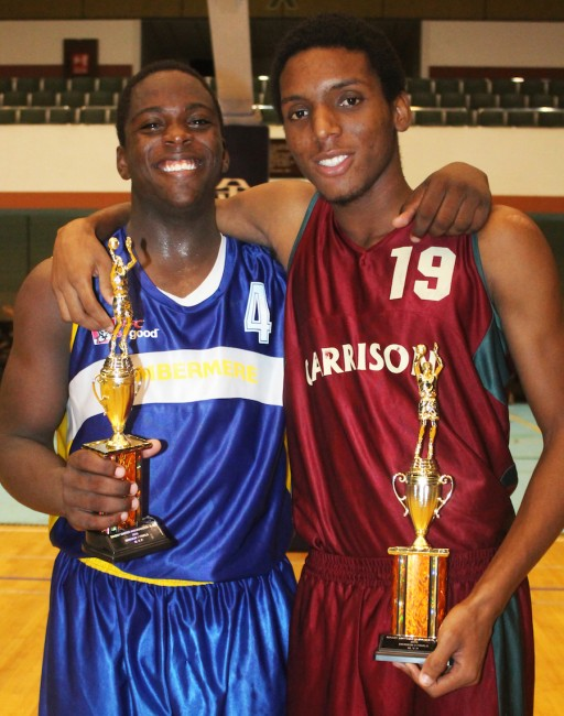 From left Most Valuable Player in  Division One Andrew Ifill all smiles with Shaquan Newton of Graydon Sealy  who was named Most Outstanding Player in Division Two.