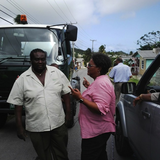 Opposition Leader Mia Mottley was in Branch Road, St Joseph, when the water tanker arrived today and took the opportunity to have a word with the BWA official who accompanied it. (NC)