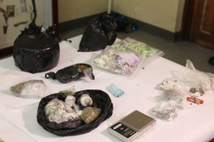 Lawmen also seized a quantity of drugs and other items.