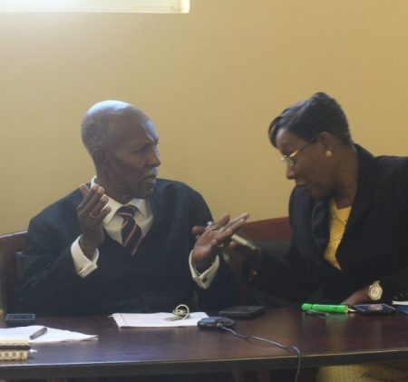 Tribunal chairman Hal Gollop, QC, (left) in discussion with fellow panellist Beverley Beckles.