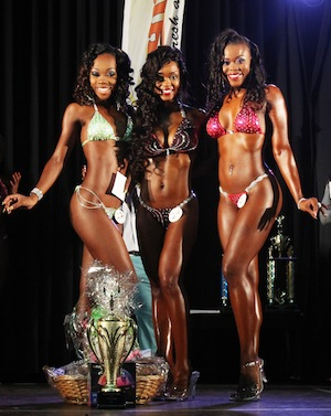 Waynel Lynch (centre) won the Women's Bikini title over Akeila Prescod and Alisha Barnett.