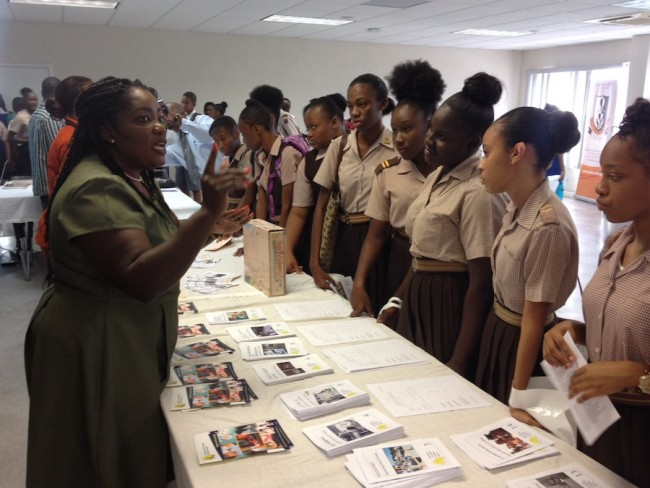 Students of Ellerslie Secondary hearing more about the offerings at the Barbados Vocational Training Board.