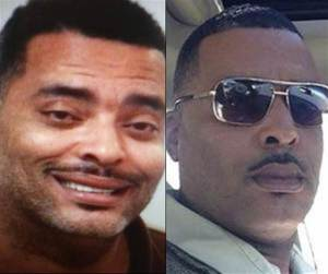 A photo composite of Donald Pugh. Left, his initial mugshot and (right) the photo he sent to police.