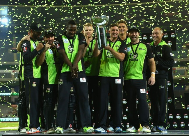 Andre Russell (third left) celebrating with Sydney Thunder.