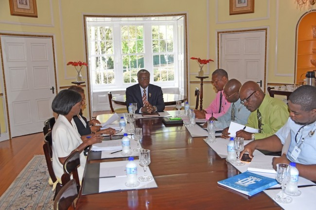 Prime Minister Freundel Stuart (centre) in discussion with officials of the Barbados Union of Teachers during a recent meeting. To Stuart's left are: President Pedro Shepherd, General Secretary Herbert Gittens, Vice President Richmark Cave and Public Relations Officer Dwane Goddard; while Permanent Secretary Sonja Welch and Deputy Permanent Secretary Margaret Jones are to his right.