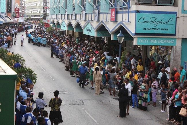 Hundreds of Barbadians lined the streets of Bridgetown to get a glimpse of yesterday's parade.