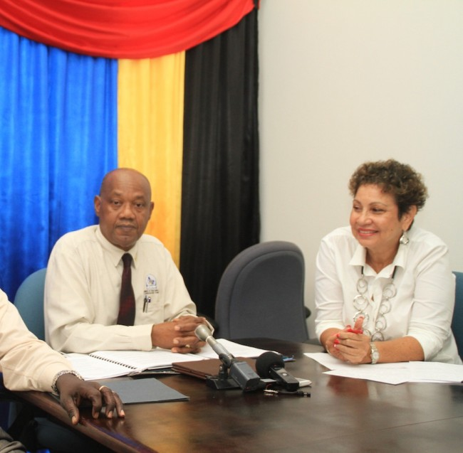 CTUSAB's President Cedric Murrell and President of the Barbados Secondary Teachers' Union Mary Redman at yesterday's press conference.