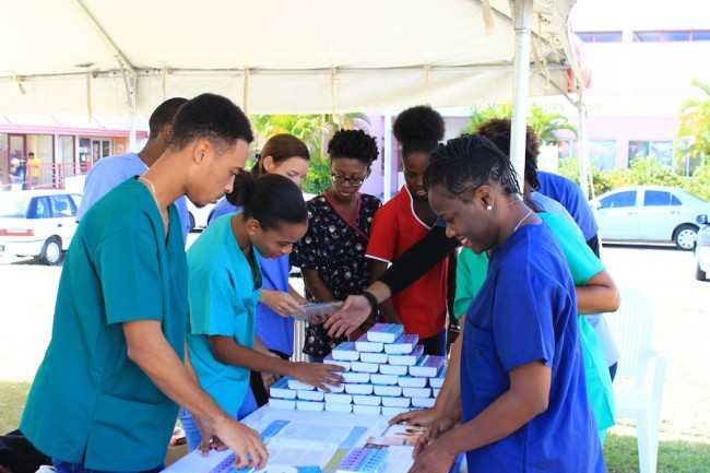 Medical students preparing for the health fair.