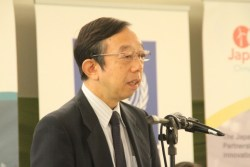 Japan's minister-counsellor and deputy head of mission at the Embassy of Japan in Trinidad and Tobago, Masatoshi Sato, speaking during yesterday's launch.