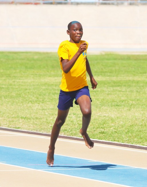 Joshua Belgrave of Gold House had no competition on the track in the under-13 boys' races.