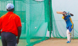 Barbados fast bowler Shamila Connell who got called up to the West Indies women's team last year took time out to work on her batting with coach Ezra Moseley.