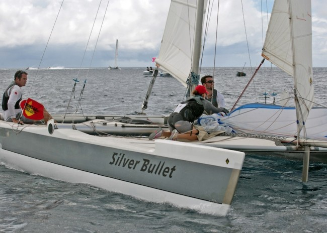 The crew of Silver Bullet ended the day with a narrow lead in the Multihull Racing Class.